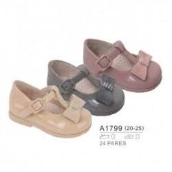 Zapato tipo mercedita cierre hebilla detalle lazo, venta al por mayor