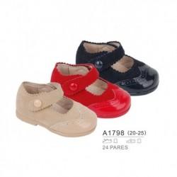 Zapato bebé tipo mercedita troquelada tejido combinado, venta al por mayor - Bubble - TMBB-A1798