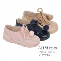 Zapato bebé tipo inglesito troquelado tejido combinado cordones, venta al por mayor - Bubble - TMBB-A1175