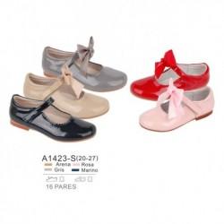 Zapato tipo mercedita cierre velcro, detalle lazo extraible, venta al por mayor