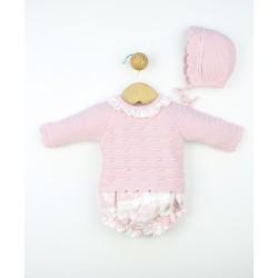 Conjunto bebé jersey cuello volante y pantalón corto tejido combinado 233622 Popys