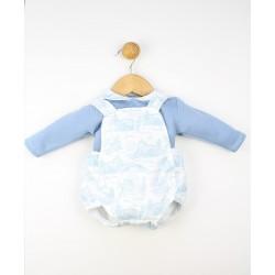 Conjunto bebé camisa cuello volante y peto corto 23257 Popys
