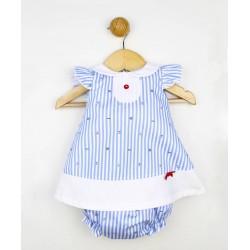 Comprar ropa de niño online Vestido corto blanco y azul a rayas