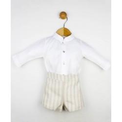 Conjunto 2 piezas bebé: Camiseta m/l cuello bebé y pantalón corto-Tony Bambino
