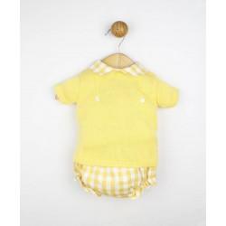Conjunto bebé camisa manga corta y pololo topos blanco y azul-ALM-22457-POPYS