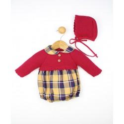 Conjunto bebé camisa cuello volante, pantalón corto y cjersey punto 23386 Popys