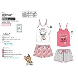 Pijama corto, camiseta tirantes&short 100% algodón bambi-SCV-ET3610-BAMBI