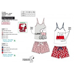 Pijama corto, camiseta tirantes&short 100% algodón snoopy-SCV-ET3617-SNOOPY