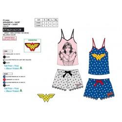 Pijama corto, camiseta tirantes&short 100% algodón wonder woman-SCV-ET3621-WONDER WOMAN