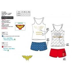 Pijama corto, camiseta tirantes&short wonder woman-SCV-ET3620-WONDER WOMAN