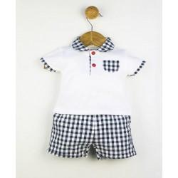 Conjunto corto 2 piezas bebé estampado vichy-ALM-23086-TONY