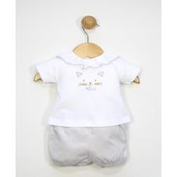 Conjunto corto algodón 2 piezas bebé : camiseta manga corta cuello volante y pantalón-TBV-24737-Tony Bambino