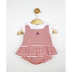 Conjunto corto 2 piezas bebé: jesusito cuello y mangas volante y cubrepañal-TBV-24669-Tony Bambino