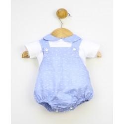 Conjunto 2 piezas bebé: peto corto plumeti y camiseta cuello bebe-TBV-24724-Tony Bambino