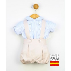 Conjunto corto bebé dos piezas: pantalón con tirantes y camisa estampado rayas-PPV-24244-Popys