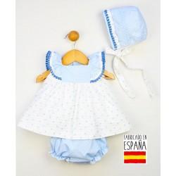 Conjunto corto bebé 3 piezas: jesusito, cubrepañal y gorro estampado topitos-PPV-24252-Popys