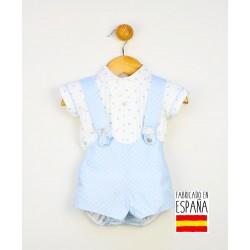 Conjunto corto bebé dos piezas: pantalón con tirantes y camisa estampado topitos-PPV-24255-Popys