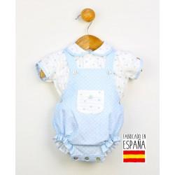 Conjunto corto bebé dos piezas: peto y camisa cuello bebé estampado topitos-PPV-24256-Popys