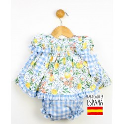 Conjunto corto bebé 2 piezas: jesusito y cubrepañal estampado combinado limones y cuadros-PPV-24264-Popys