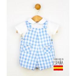 Conjunto corto bebé dos piezas: peto y camisa cuello bebé estampado vichy-PPV-24268-Popys