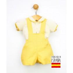 Conjunto corto bebé dos piezas: peto y camisa estampado rayas-PPV-24287-Popys