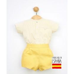 Conjunto corto bebé dos piezas: pantalón y camisa estampado rayas-PPV-24288-Popys