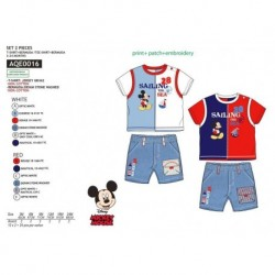 Conjunto 2 pcs pantalon corto & camiseta 100% algodon MICKEY Bebe niño