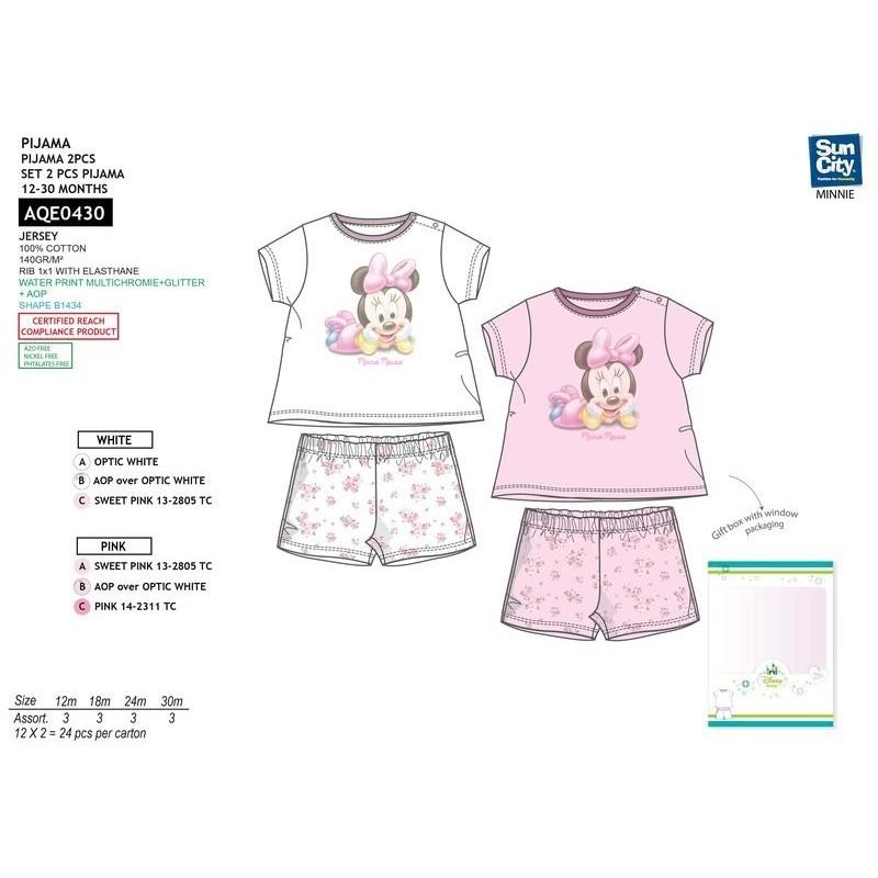 b3fbcfc3a5ae Pijama corto 100% algodón MINNIE Bebe niña