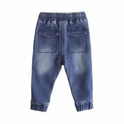 Pantalon vaquero cinturilla goma con cordon,bolsillo delantero puño en bajo de goma