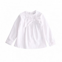 Camisa blanca lisa con lazo doble grande