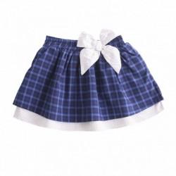 Falda cuadros grades azules con lazo de lunares algodón 100%