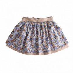 Falda estamoado flores con lazo en color camel algodón 100% - Newness - KGI97916