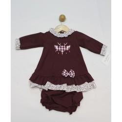 Conjunto 2 piezas bebé : vestido y cubrepañal-TBI-25080-Tony Bambino
