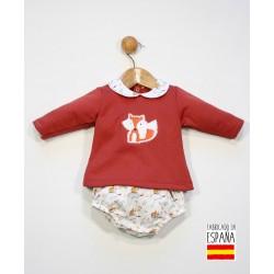 Conjunto 2 piezas bebé: sudadera cuello bebé y pololo estampado