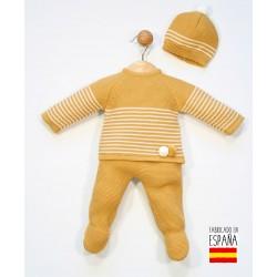 Conjunto bebé punto 3 piezas: jersey, polainas y