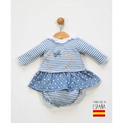 Conjunto 2 piezas bebé: vestido y cubrepañal-ALM-25619-Tony