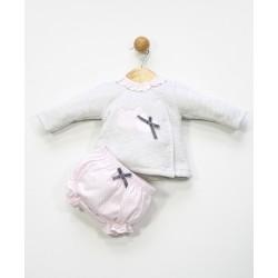 Conjunto 2 piezas bebé: jesusito y cubrepañal-ALM-25492-Tony Bambino