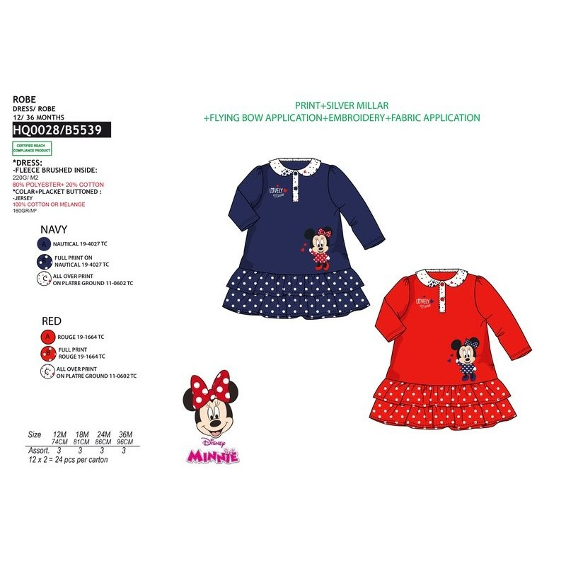 3ba818c76319 Vestido manga larga 80% pe / 20% algodón MINNIE Bebe niña