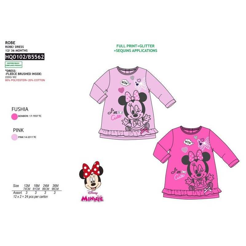 137cf5b7595a Vestido manga corta 80% pe / 20% algodón MINNIE Bebe niña