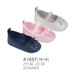 Zapatos bebe tipo francesita acabado brillos