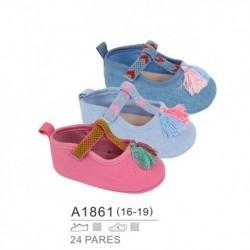 Zapatos bebe detalle borla y cierre velcro