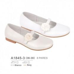 Zapato plano creemonia y detalle flor en cierre - Bubble - BB-A1845-3