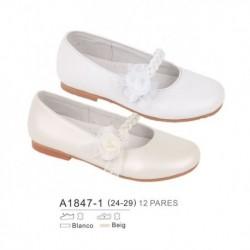 Zapato plano ceremonia con cierre trenzado y flor - Bubble - BB-A1847-1