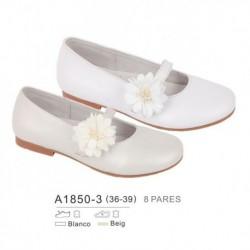 Zapato plano ceremonia detalle flor en cierre