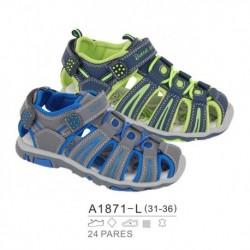 Sandalias sport estilo playeras cierre cordones y velcro - Bubble - BB-A1871-L