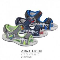 Sandalias sport estilo playeras cierre velcro - Bubble - BB-A1874-L