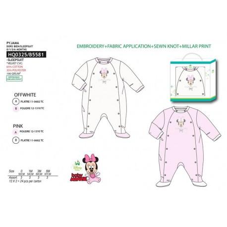 Pijama tipo pelele 65% algodon / 35% pe MINNIE Bebe niña