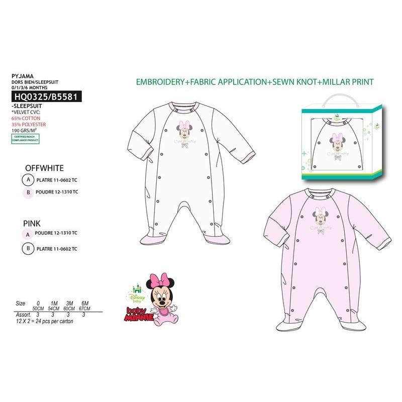 cd0681a05b92 Pijama tipo pelele 65% algodon / 35% pe MINNIE Bebe niña