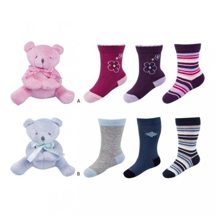 Set Bebé: 3 pares calcetines+osito peluche