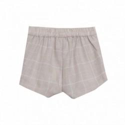 Pantalon corto beige cuadros grandes